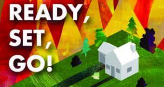 Ready, set, go! Wildfire around house illustration