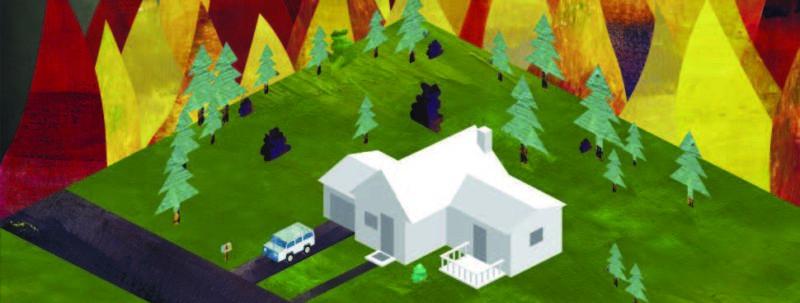 wildfire around house illustration
